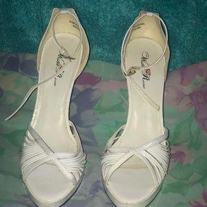 Wild Rose White Peep Toe Heels